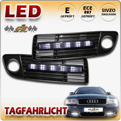 1 Set Audi A6 4B C5 Bj.10/99 -05/2001 LED Tagfahrlicht BLACK mit Lüftungsgitter
