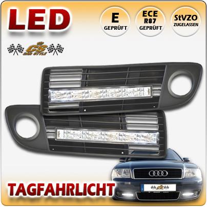 Audi A6 4B C5 Bj.5/1997 - 9/1999 LED Tagfahrlicht Set CHROM mit Lüftungsgitter