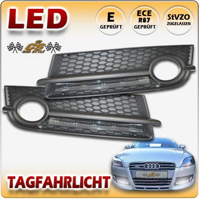Audi TT TYP J8 Coupe & Roadster Bj.2006-2010 LED Zusatz Tagfahrlicht im Lüftungsgitter fest verbaut