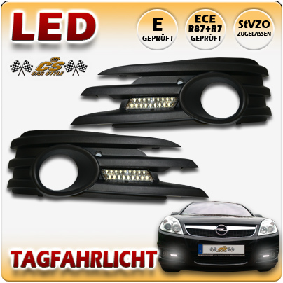 TFL LED Tagfahrlicht SET Chrom mit Nebel Gitter OPEL Vectra C ab Bj.2005-2008