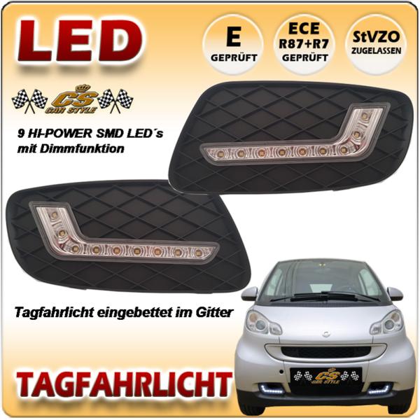 LED TFL Tagfahrlicht mit Kappe SMART fortwo Modelle Typ A451& C451 Bj.2007-2012