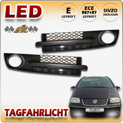 VW SHARAN 7M9 ab Bj:2000-2010 LED Tagfahrlicht TFL BLACK mit Lüftungsgitter NEU