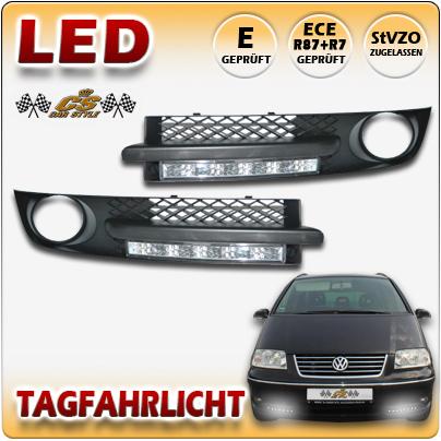 VW SHARAN Typ 7M9 Bj:2000-2010 LED Tagfahrlicht CHROM mit Lüftungsgitter Komplett Set