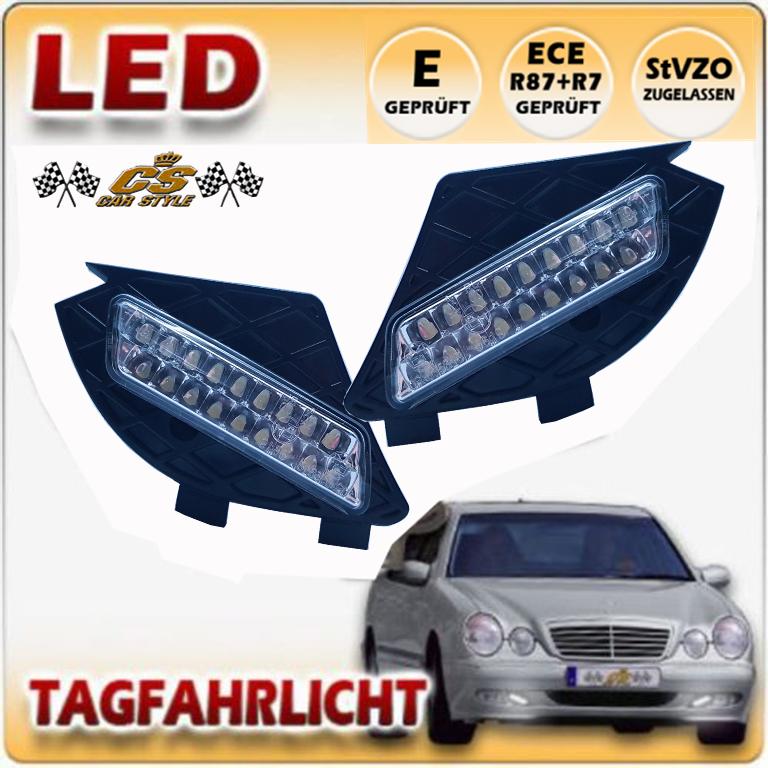 LED Tagfahrlicht TFL Set im Gitter Mercedes Benz W210 E Klasse Bj.06/99-2002