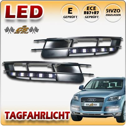 LED Tagfahrlicht TFL Set BLACK im Stoßstangen Gitter Audi Q7 Bj:2006-2010