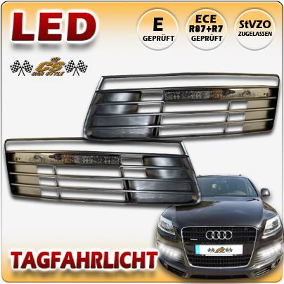 LED Tagfahrlicht TFL Set BLACK im Stoßstangen Gitter Audi Q7 S Line Bj:2006-2010