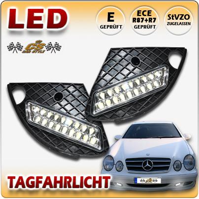 LED TFL Tagfahrlicht + Kappe Mercedes Benz CLK W208 Coupe Cabrio Bj.1997-2003