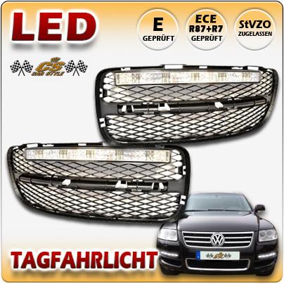 LED Tagfahrlicht TFL Set CHROM im Gitter VW Touareg I TYP 7LA Bj2002-09/2006 NEU