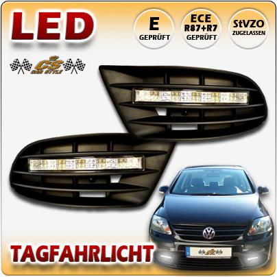 LED TFL Tagfahrlicht CHROM im Gitter ohne Nebel VW Golf 5 Plus TYP 5M1, 1KP Bj12/2004-2009