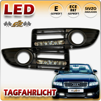 LED TFL Tagfahrlicht BLACK im Nebel Gitter Audi A4 Typ 8H Cabrio 04/2002-01/2006
