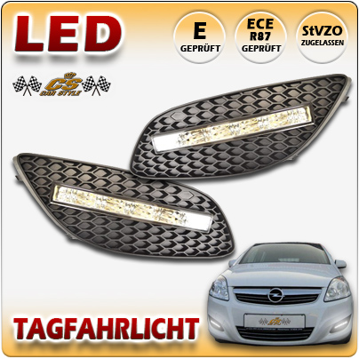 LED Tagfahrlicht TFL Set im Gitter Opel Zafira B II Facelift 2008-2013