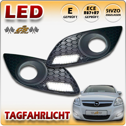 LED Tagfahrlicht TFL Set im Nebel Gitter Opel Zafira B II Facelift 2008-2014