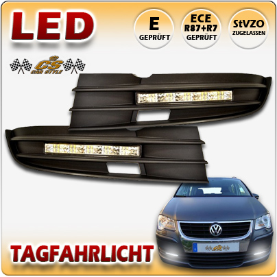 LED Tagfahrlicht TFL Set CHROM im Gitter VW Touran TYP 1T2 Bj.12/2006- 07/2010