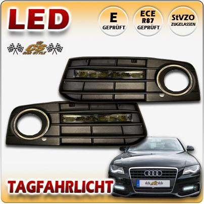 LED Tagfahrlicht TFL Set SCHWARZ im Nebelgitter Audi A4 B8 TYP 8K 2007- 10/2011