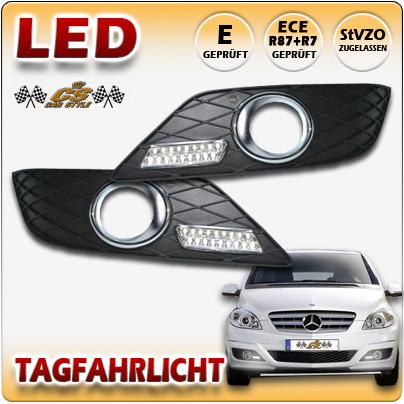 LED Tagfahrlicht SET Chrom Dimmfunktion im Gitter Mercedes B Klasse 06/2008-2011