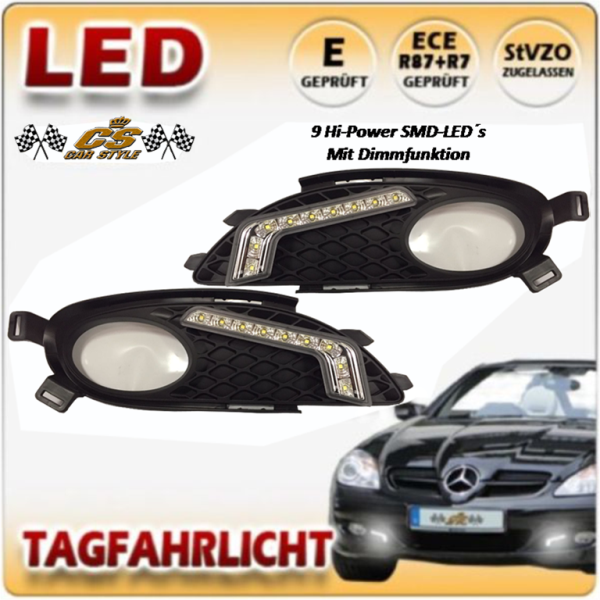 LED Tagfahrlicht TFL Set im Nebel Gitter Mercedes Benz SLK R171 Bj.2004-2008