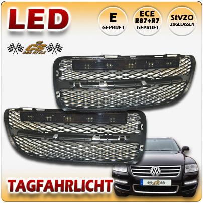 LED Tagfahrlicht TFL Set BLACK im Gitter VW Touareg I TYP 7LA Bj2002-09/2006 NEU