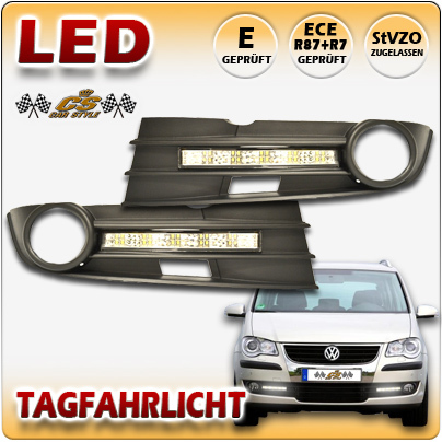 LED Tagfahrlicht Set CHROM im Gitter VW Touran TYP 1T2 Bj.12/2006- 07/2010