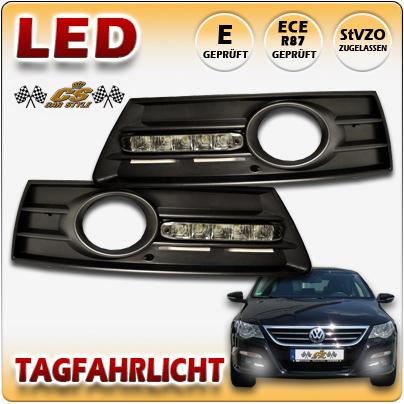 VW PASSAT CC LED Tagfahrlicht TFL Set BLACK im Gitter für Nebel ab Bj.2008 +