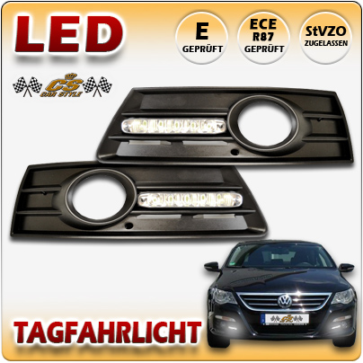 VW PASSAT CC LED Tagfahrlicht TFL Set CHROM im Gitter für Nebel ab Bj.2008 +