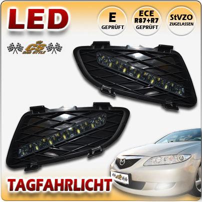 MAZDA 6 Typ GG & GY LED Tagfahrlicht TFL Set BLACK im Gitter Bj.06/2002-05/2005