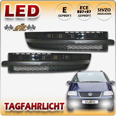 VW SHARAN 7M9 LED Tagfahrlicht TFL Set in SCHWARZ im Gitter Bj:2000-2010