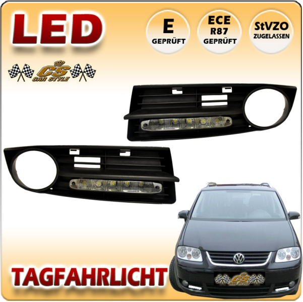 VW Touran 1T1 LED Tagfahrlicht Set BLACK im Gitter für Nebel ab Bj.2003-2006