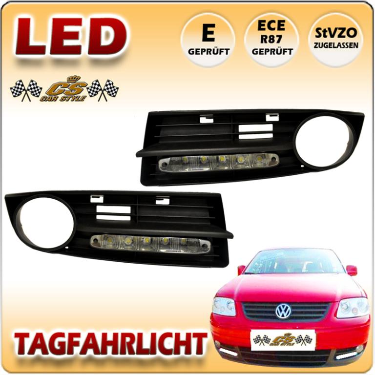 VW Caddy 2K LED Tagfahrlicht Set BLACK im Gitter für Nebel ab Bj.2006-2010