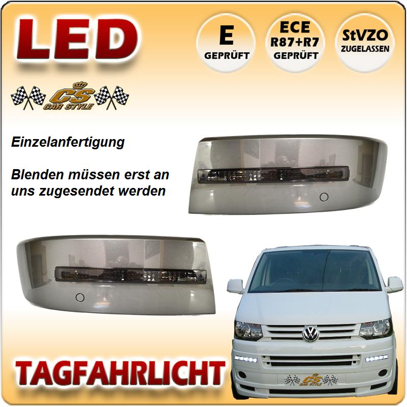 VW T5 LED Tagfahrlicht Set SCHWARZ ab Bj.10/2009 + ---> Facelift Modell