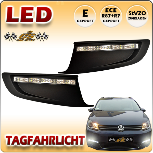 VW Touran TYP 1T3 GP2 LED Tagfahrlicht Set CHROM im Gitter Bj.08/2010- 2015