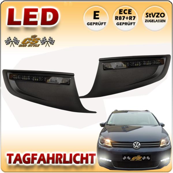 VW Touran TYP 1T3 GP2 LED Tagfahrlicht Set SCHWARZ im Gitter Bj.08/2010-2015