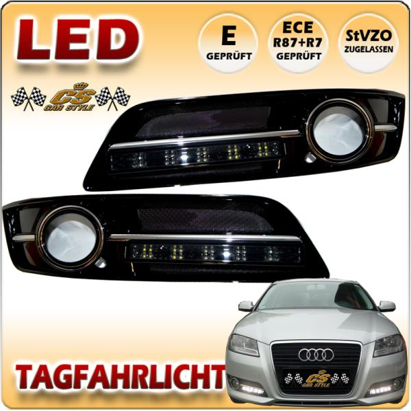 Audi A3 8P LED Tagfahrlicht Set SCHWARZ im Glanz Nebel Gitter Bj:04/2008-2012