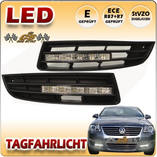 VW Passat 3C LED Tagfahrlicht CHROM im Gitter für ohne Nebel Bj.2005-2010 NEU