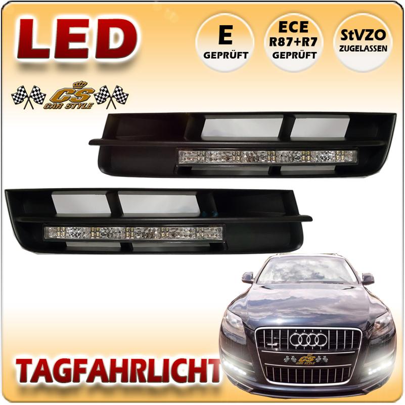Audi Q7 LED Tagfahrlicht Set CHROM im Stoßstangen Gitter Bj.2010-2015