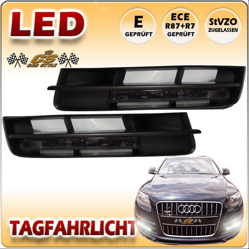 Audi Q7 LED Tagfahrlicht Set SCHWARZ im Stoßstangen Gitter Bj.2010-2015