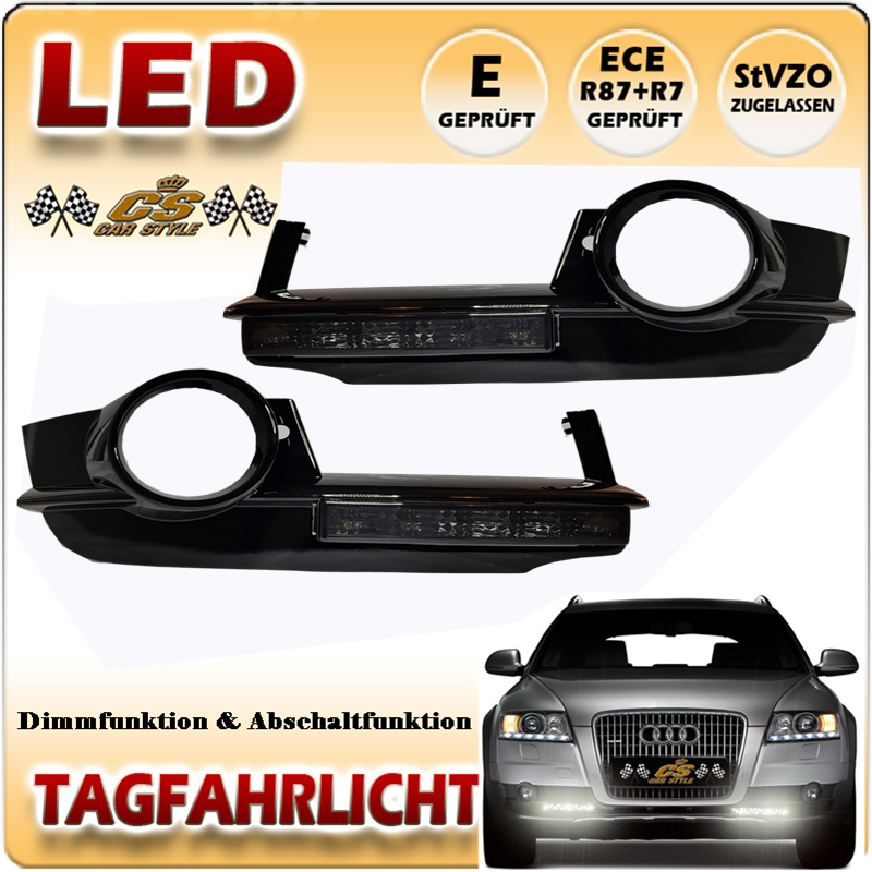 Audi A6 Allroad C6 4F Avant LED Tagfahrlicht Set BLACK im Gitter Bj.2006-2011
