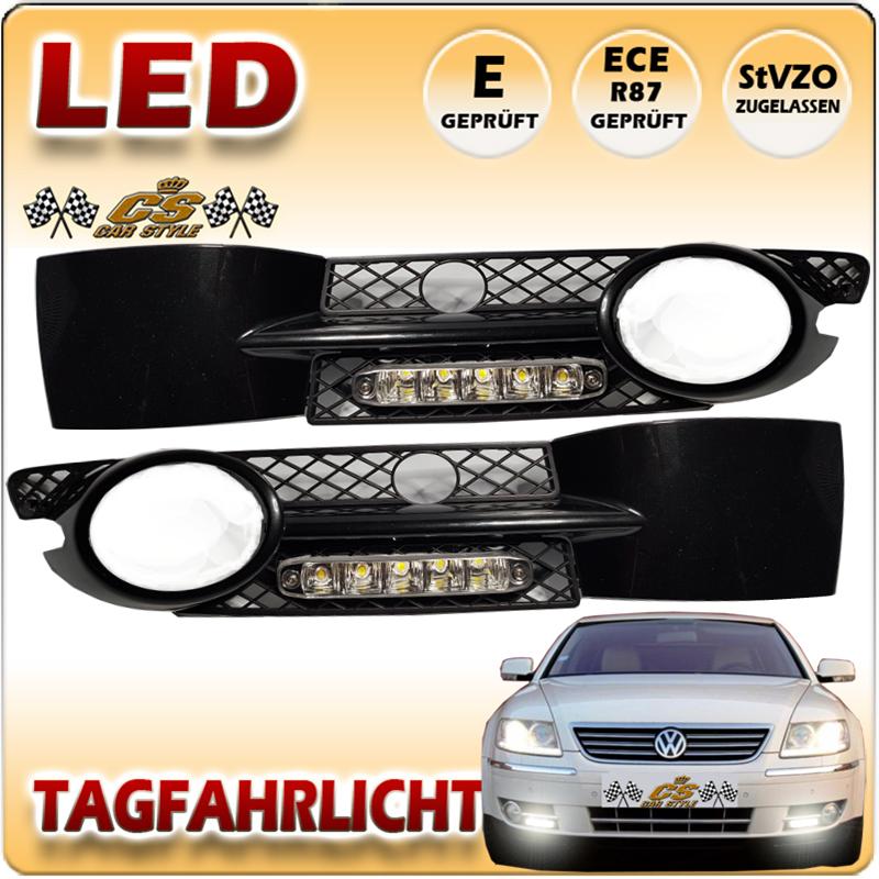 VW Phaeton LED Tagfahrlicht Set CHROM im Gitter fest verbaut ab Bj.2001-2010