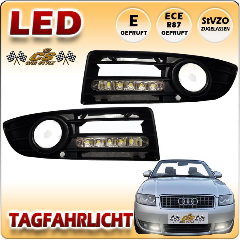 LED TFL Tagfahrlicht CHROM im Nebel Gitter Audi A4 Typ 8H Cabrio 04/2002-01/2006