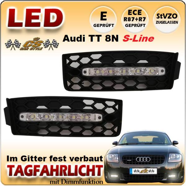 Audi TT 8N S Line Coupe & Roadster LED Tagfahrflicht Set im Gitter Bj.1998-2006